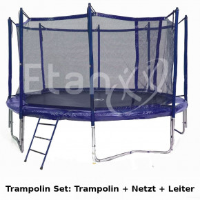Trampolin Set Jumpfree Exclusive Blau 370 inkl. Netz & Leiter